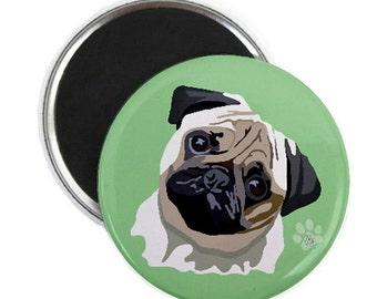 "Magnet: Pug, 2 1/4"" round"