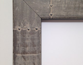 Riveted Metal Look All Wood Picture Frame - 3x5, 4x6, 5x7 8x10, 11x14, 16x20 - Metal Look, All Wood, Rivets Picture Frame, Metal Photo Frame