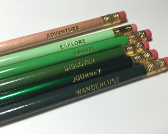 Wanderlust, Pencils, Wanderlust Pencil Set,  Motivational, Pencil Set, Inspiring, Wanderlust, Words to Live By, Adventure, Back to School