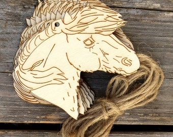 10 x Wooden Shetland Pony Horse Head Craft Shapes 3mm Plywood