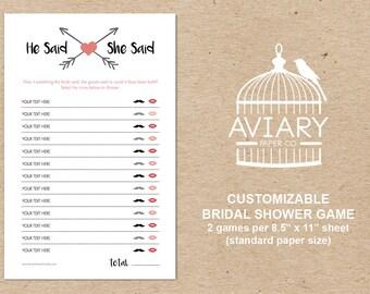 Customizable DIY Bridal Shower Game - He Said She Said Game