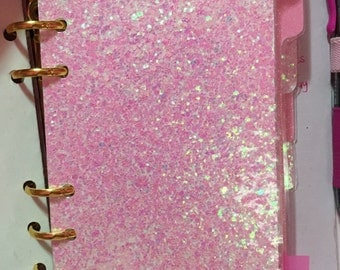 Light pink and bubblegum pink planner dividers a6 glitter laminated handmade sparkly, top quality