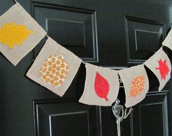 Rustic Fall Burlap Banner--6 pennants--Assorted--BB1001