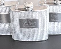 10- Bridesmaid Gift Personalized Bridesmaid Flask Custom Engraved Bling Flask Bachelorette Party Gifts Flask for Women Bridesmaid Gift Ideas