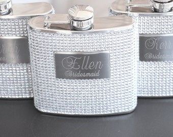 5 - Bridesmaid Gift Personalized Bridesmaid Flask Custom Engraved Bling Flask Bachelorette Party Gifts Flask for Women Bridesmaid Gift Ideas