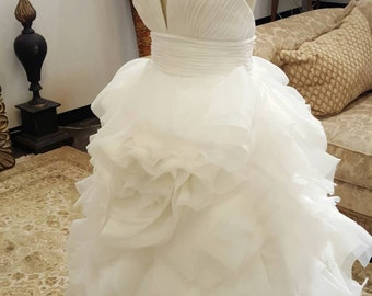 High Low Unique Organza Rose Wedding Dress with Lace Back, Unique Wedding Dresses , High Low, Organza Rose Wedding Dress, Plunging Neckline