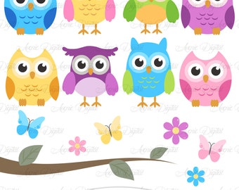 Cute Owl Clipart. Scrapbooking printables, Baby owls clip art set for Commercial Use. Pink, blue, green, yellow and purple with tree branch