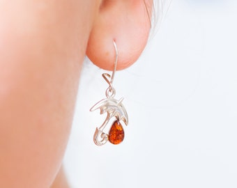 Small dangle earrings, Amber Earrings, Gemstone Earrings, Umbrella Earrings, Rain Earrings, Whimsical Jewellery, Quirky Jewellery, Cute