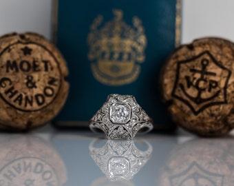 Royal Antique Art Deco Platinum Old European Cut Diamond Engagement Ring with Amazing Pave Diamond Setting ATL #89