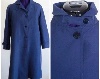 1970s dark blue all weather coat SIZE 14P