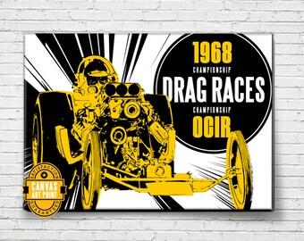 Car Art - Vintage Drag Races - Canvas Art Print, Auto Art, vintage car, Automobile Art, Automotive Decor, Man Cave Art, Car Gift, Garage Art