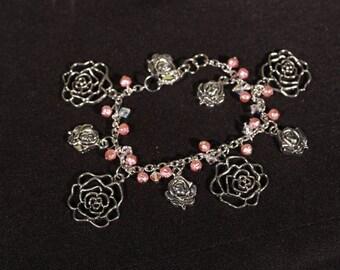 Rose, Pearl and Swarovski Crystal Charm Bracelet