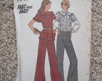 UNCUT Misses Top and Pants - Size 12 - Butterick Pattern 3381 - Vintage 1973