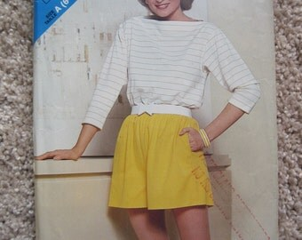 UNCUT Misses Top and Shorts - Size 6 to 14 - Butterick Pattern 5155 - Vintage 1980's