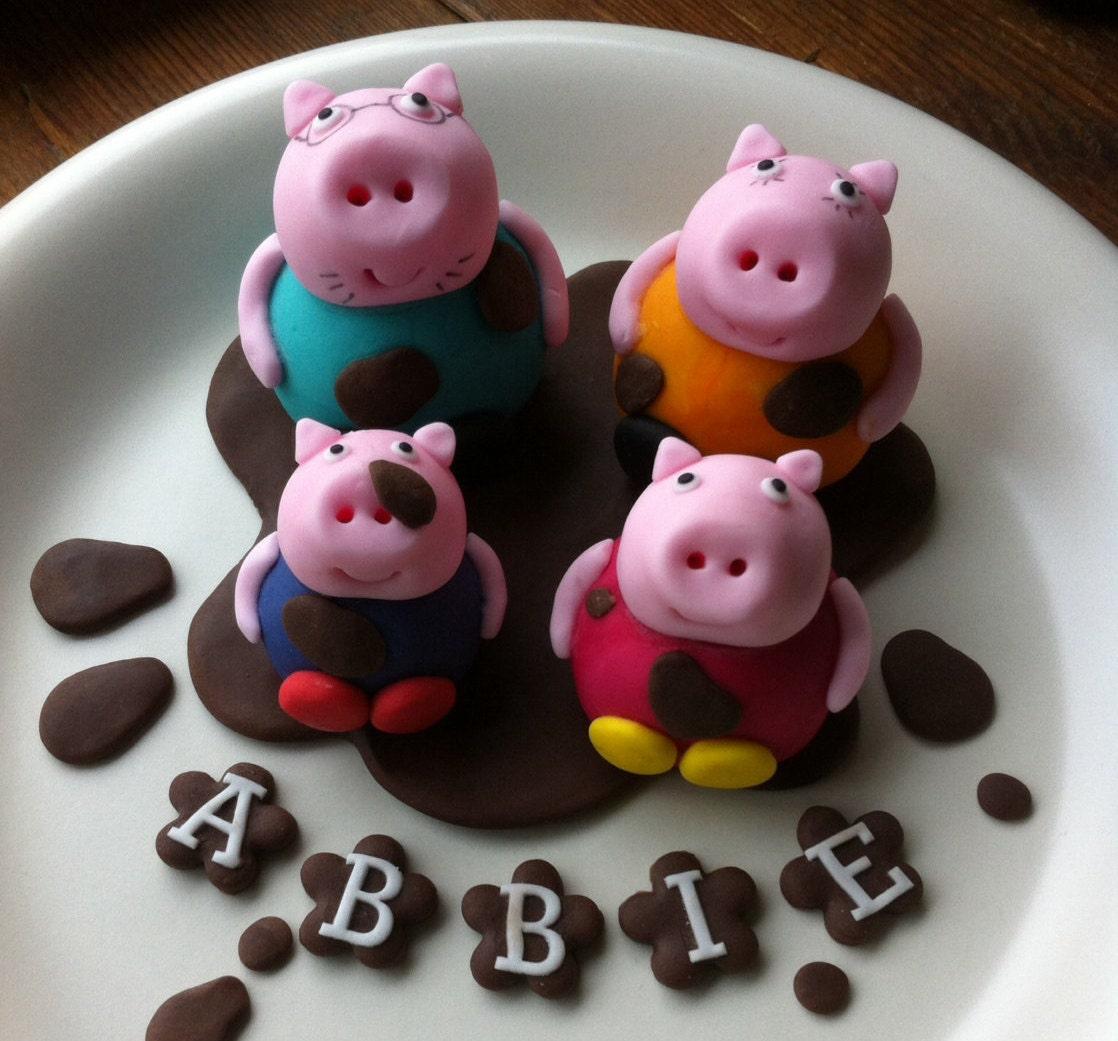Handmade edible Peppa Pig Cake Topper