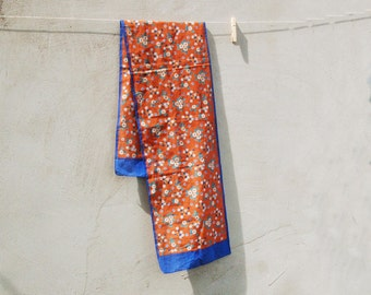 Vintage floral hippie scarf - vintage blue yellow orange brown scarf - vintage accessories- vintage fashion - vintage pin up scarf headband