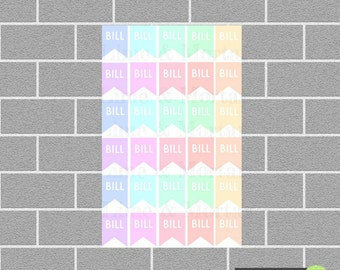 Bill Flags | PASTEL| Planner Stickers