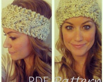KNITTING PATTERN - The Wanderlust Headband - Chunky Cable Knit Head Warmer, Ear Warmer, Headband, Turban PDF Knitting Pattern