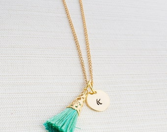 Personalized Tassel Necklace, Initial Jewelry, Gold Plated Disc Necklace, 22 Carat Gold plated Chain, A great gift idea