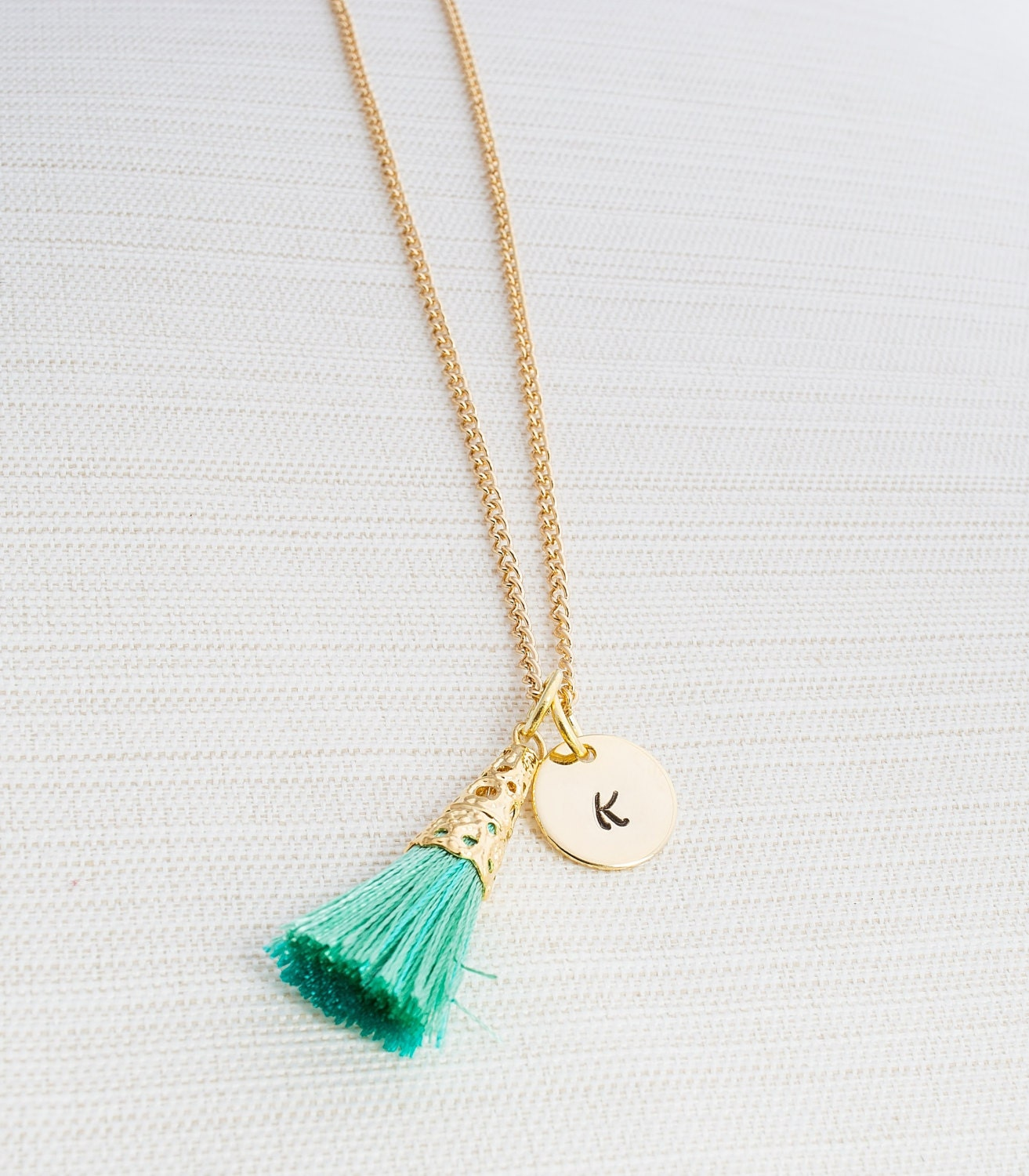 Make Your Own Tassel Necklace: Personalized Tassel Necklace Initial Jewelry Gold Plated