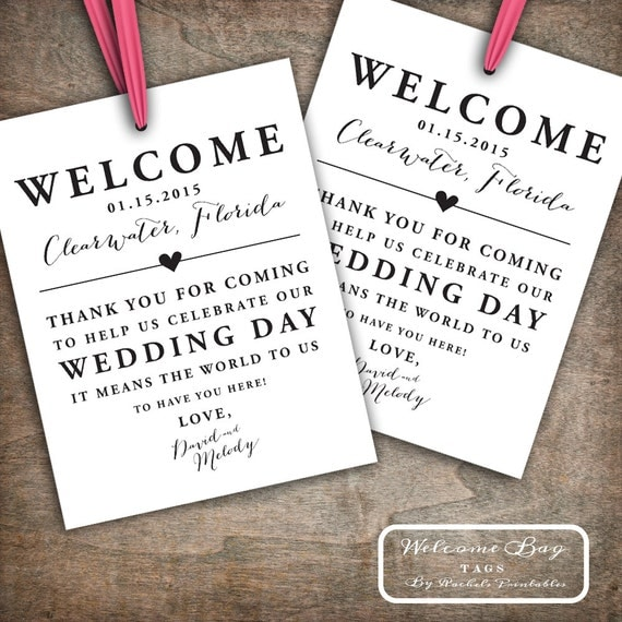 Custom Printable Wedding Welcome Bag Tags Labels Hotel