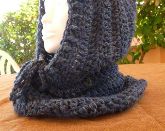 Ring scarf hooded wool handmade