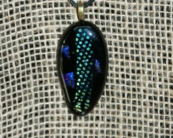 Black Dichroic Fused Glass Pendant