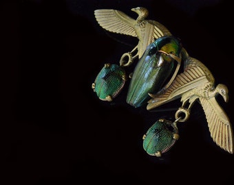Rare 1920s Scarab Beetle Brooch, Egyptian Revival Brooch