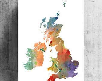 United Kingdom Print Watercolor UK Map, Home Decor Watercolor UK Poster, Watercolor UK Painting, Handmade Poster Map Art, Map Poster