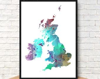 UK United Kingdom No. 4 Print Watercolor Map, Home Decor Watercolor UK Poster, Watercolor UK Painting, Handmade Poster Map Art, Map Poster