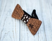 Wooden bowtie. Wedding party bowtie. Groomsmen, bet man bowtie. Men gift. Puzzle