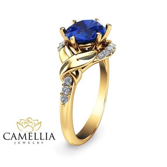 unique blue sapphire engagement ring 14k yellow gold blue