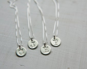 Sterling Silver Initial Necklace, Initial Disc Necklace, Custom Necklace, Typewriter Font Letter Charm, Personalized Jewelry