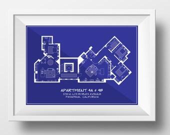 Big Bang Theory Blueprint Style Art Print/Architectural Style Big Bang Theory Floor Plan/ Print for Home of Sheldon, Leonard and Penny