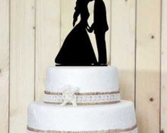 Holding Hands Sweet Kiss Acrylic Wedding Cake Topper