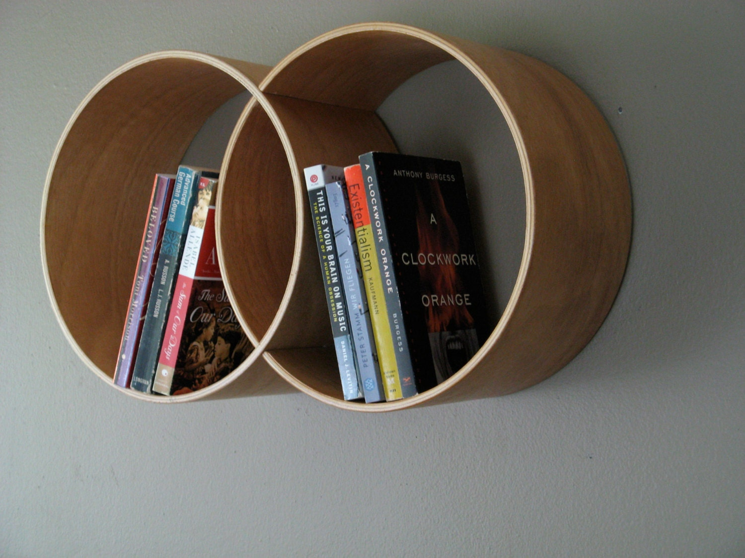 Round Shelving Unit Reclaimed Wood Shelf Wall Shelf by HKNDesign