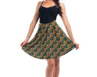 Crush Flirt Skirt, Bright Printed Pineapple Pattern Flared Spandex Skirt