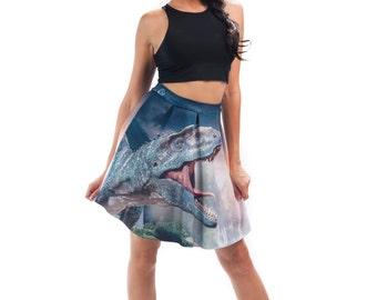 T-Rex Flirt Skirt, Bright Printed Dinosaur Flared Spandex Skirt