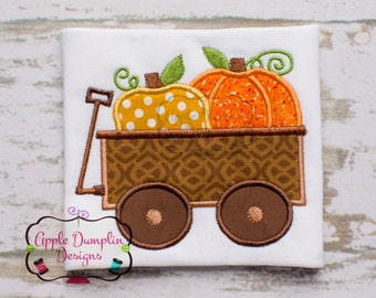 Thanksgiving Pumpkin Wagon Applique Machine Embroidery Design, Cute, Fall, Halloween, Boy, Girl, Monogram,Turkey, 4x4, 5x7, 6x10, 9x9
