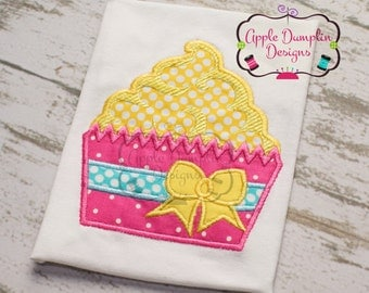 Cupcake with Bow Applique Machine Embroidery Design, Birthday Party, Birthday, Girl, Girly, Spring, Summer, Cake, Tea Party 5x7, 6x10