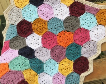 Cute hexagon baby blanket. Multicoloured afghan. Also suitable for a pampered pet
