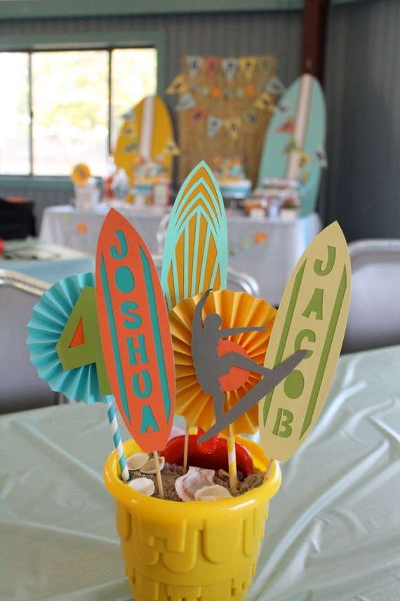 Beach party centerpiece surfer party centerpiece teen for Surf decoration
