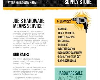 Hardware - Carpentry - Printable Flyer - Social Media Flyer - Digital Flyer
