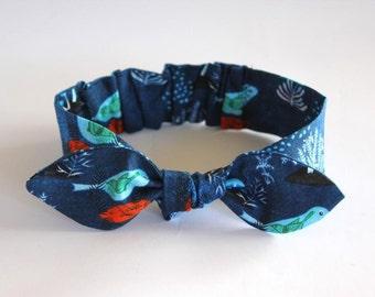 Organic baby bow, baby girl headband, baby bow headband baby knot headband, organic baby headband, blue, birds