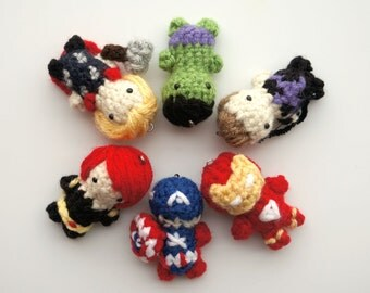 Amigurumi Avengers - Inspired (Iron Man, Captain America, Thor, Hulk, Black Widow, Hawkeye) Keychains: for ONE only