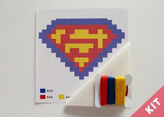 Mini Cross Stitch Kit - Superman