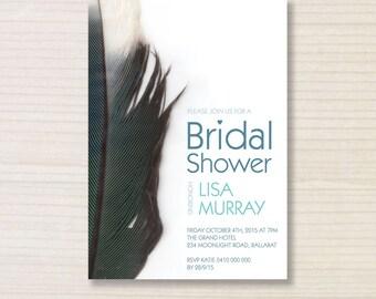 bridal shower invitation -  printable invitation - feather invitation