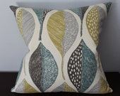 Grey Mustard Teal Pillow Cover
