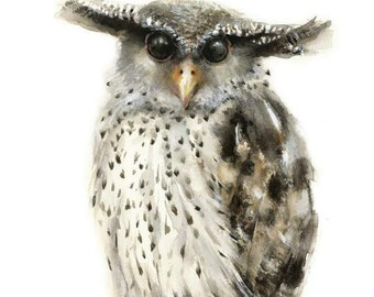 Forest Eagle Owl Watercolor Print - Modern Owl Decor - Wildlife Owl Painting - Woodland Owl Portrait - Forest Owl Decor - Eagle Owl Wall Art