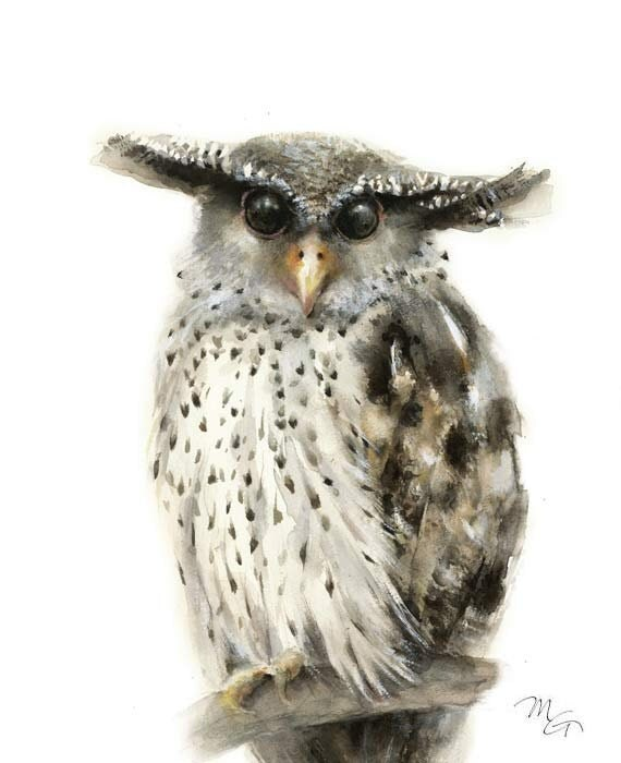 Forest Eagle Owl Watercolor Print - Modern Owl Decor - Wildlife Owl Painting - Woodland Owl Portrait - Forest Owl Decor - Eagle Owl Wall Art